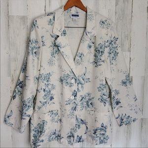 Vintage linen blue and white floral blazer